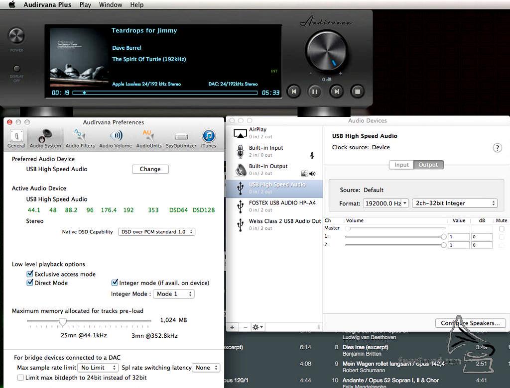 OS X 隨插即用,支援 DSD128