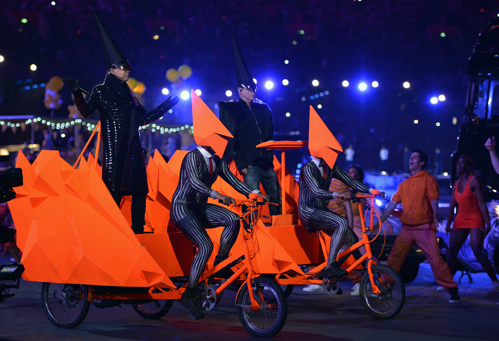 LONDON, ENGLAND - AUGUST 12: Neil Tennant and Chris Lowe and Pet Shop Boys during the Closing Ceremony on Day 16 of the London 2012 Olympic Games at Olympic Stadium on August 12, 2012 in London, England. (Photo by Jeff J Mitchell/Getty Images)
