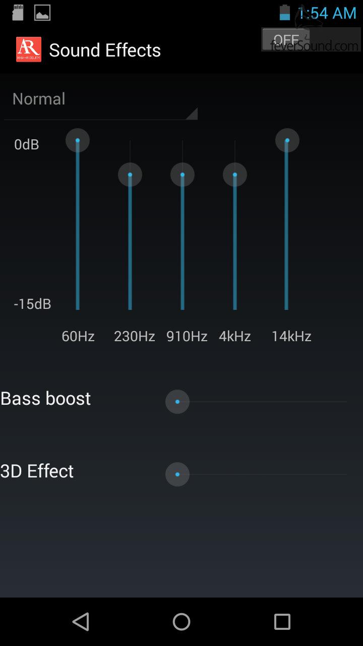 音效設定功能比較簡單,只有5 band EQ、Bass Boost及3D Effect