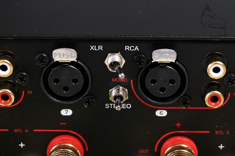 八聲道後級,每組獨立選擇XLR或RCA輸入,亦可以把兩份功放橋接成一份輸出,可變身成功率更大的四聲道後級!設定非常靈活。
