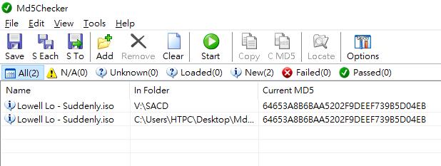 先比較最重要的PS3及OPPO備份回來的ISO檔,兩者不論大小及MD5也是一樣的