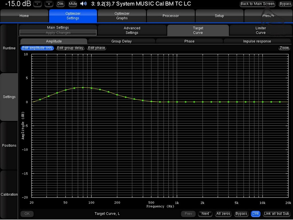 這是我自己調整的Target Curve。只是輕輕的在20Hz-300Hz加些少令低頻更適合自己口味