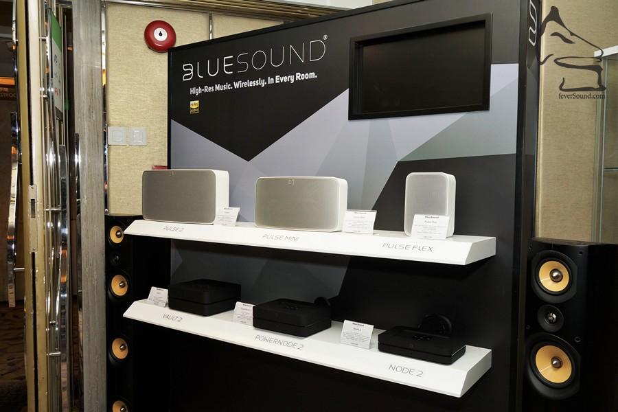個人音響也有示範作,Bluesound的無線音響,留意係傳送HD音響,頻寛廣,才能得到HI-RES AUDIO的認證