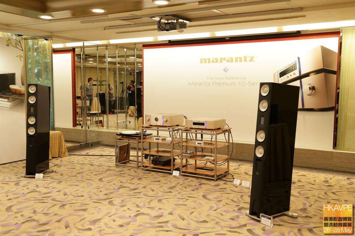 Marantz展房中除了有旗艦西裝SA-10及PM-10之外,還有丹麥Raidho Acoustic的揚聲器